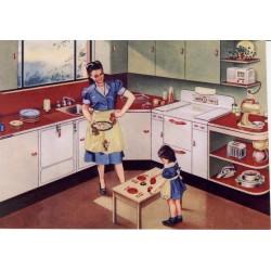 Vykort Nostalgi barn i kök